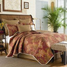 Tommy Bahama Bedding Orange Cay Cotton Quilt