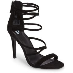 Women's Bp. Alexy Sandal ($70) ❤ liked on Polyvore featuring shoes, sandals, black suede, black shoes, black suede shoes, black stiletto sandals, suede sandals and black strappy stilettos