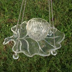 Vintage Punch Cup Leaf Hanging Bird Feeder Glass by ARTfulSalvage, $30.00
