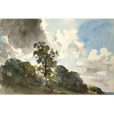 "A study of clouds and trees, c1821, Constable, watercolour sketchbook study with pencilled under drawing, 168 x 253 mm., UK. "" It becomes obvious that it was the days of rough or stormy weather that Constable preferred. Most of these studies are painted in oil on paper; this watercolour is perhaps an experiment, to try and introduce an even greater luminosity to the sky ...a kind of weather diary. More importantly, they aided Constable's main objective, to express emotion through landscape."""