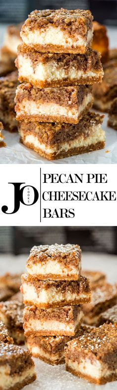 Pecan Pie Cheesecake Bars is what happens when you combine two of my favorite desserts. These luscious three layer bars are truly amazing! Pecan Pie Cheesecake Bars is what happens when you combine two of my favorite desserts. Mini Desserts, Easy Desserts, Delicious Desserts, Baking Desserts, Holiday Desserts, Weight Watcher Desserts, Baking Recipes, Cookie Recipes, Dessert Recipes