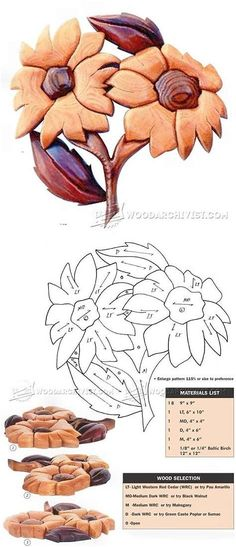 Flowers - Intarsia Projects, Tips and Techniques - Woodwork, Woodworking, Woodworking Plans, Woodworking Projects Easy Wood Projects, Woodworking Projects That Sell, Woodworking Patterns, Fine Woodworking, Woodworking Crafts, Intarsia Wood Patterns, Intarsia Woodworking, Wood Creations, Wood Art