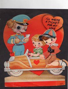 vintage die-cut mechanical Valentine card 1940s Roadster car Dog Policeman Used