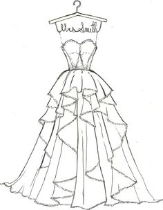 366b8bb4107 Custom Wedding Dress Sketch by DrawtheDress on Etsy