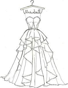 Sketch of Megan's custom Golden Globes Giorgio Armani