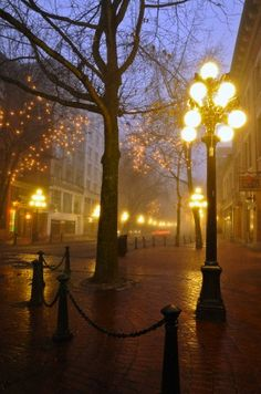 Lamp Posts in early morning fog in Gastown, Vancouver, British Columbia, Canada
