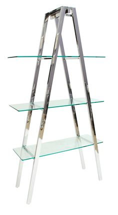 A Frame Nickel Finish Shelving Unit with Tempered Glass Shelves  www.elliainteriors.co.uk