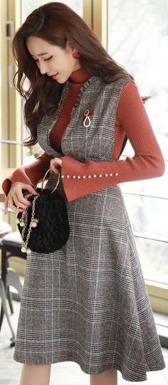 StyleOnme_Glen Check Print Frill Trim Flared Dress #layered #check #dress #frill #feminine #koreanfashion #kstyle #kfashion #wintertrend #seoul