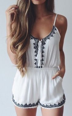 White embroidered romper - teen fashion