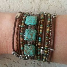 Boho Multi Strand Leather Wrap Bracelet, Turquoise & Brown, Bohemian Jewelry, Infinity Bracelet, Leather Cuff, Tibetan Beaded Bracelet