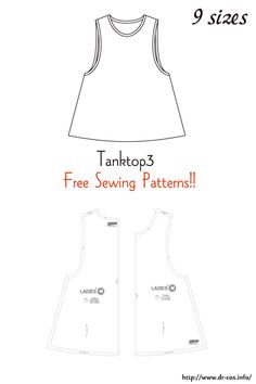 This is the pattern of a Tanktop3.   inch size(letter size) Children's-4,8,10/Ladies'-S,M,L,LL/Men's-L,LL   cm size(A4 size) Children's-100,120,140/Ladies'-S,M,L,LL/Men's-L,LL