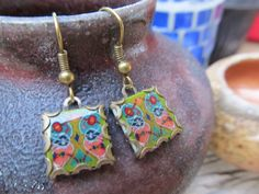 Mexican Spanish Tile Ceramic Pottery Earrings by FayWestDesigns, $12.00