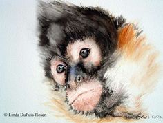 watercolor painnting monkeys | South American Monkey
