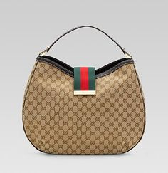 Gucci 'new ladies web' large hobo with engraved gucci script logo.