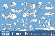 CORAL FISH - Stamps / Brushes by Purple Frog on Creative Market