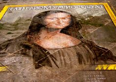 Mona Lisa in Chalk--look down as you walk through Florence to find copies of Leonardo's portrait created by the city's talented street artists