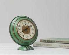 Vintage Green Art Deco Shelf Alarm Clock Ingersoll by RD1Vintage