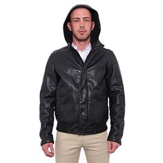 Kenneth Cole Reaction Men Faux-Leather Hooded Jacket Basic Jacket Kenneth Cole REACTION Leather Jacket With Hood, Riders Jacket, Christmas Sale, Hoods, Hooded Jacket, Zip Ups, Vogue, Passion
