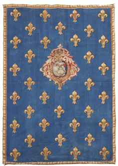 PANEL TAPESTRY ARMS OF FRANCE, FRENCH WORK OF THE GOBELINS AND AUBUSSON  LOUIS XV AN ARMORIAL TAPESTRY PANEL, FRENCH, GOBLIN OR AUBUSSON, LOUIS XV