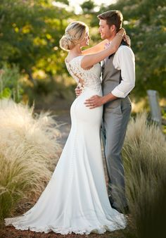 Sleek Lace-Back Wedding Dress | Essence of Australia D2238 | http://trib.al/Ol8RSH0