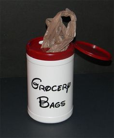 Grocery bag holder using empty clorox container, spray painted lid, vinyl lettering.  Keeps grocery bags nice and neat under the sink. This also can be made using a baby wipe or wet wipe container.  Or you could make one to hold trash in the car. Pls bring an empty wipes container,  We will provide the paint and the lettering.