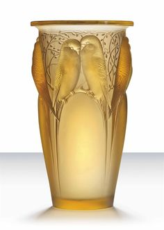 budgies!!  <3 <3 <3  CEYLAN VASE, NO. 905 designed 1924, yellow, wheel-engraved R. LALIQUE FRANCE