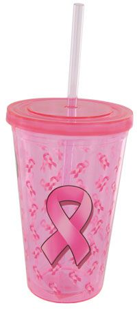 Pink Ribbon Galore Insulated Travel Cup at The Breast Cancer Site.  LOVE THIS!!
