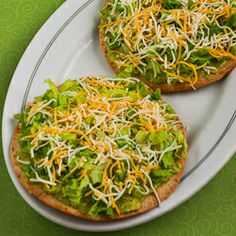 Easy guacamole tostadas - would be good with some shredded chicken on ...