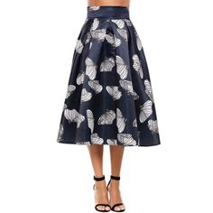 Dresslink - Dresslink Blue High Waist Flared Striped Maxi A-Line Skirt - AdoreWe.com