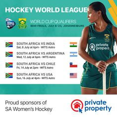Private Property is a proud sponsor of the South African women's field hockey team. Women's Hockey, Hockey World, Field Hockey, Private Property, Buy Tickets, African Women, Finals, Sport, Deporte