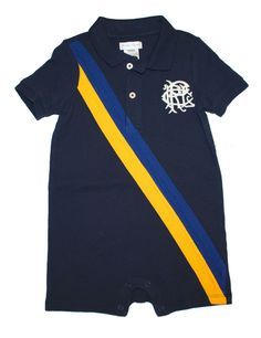 NWT Ralph Lauren Baby Boys Polo Banner Striped Cotton Rugby Shortall Romper 18 M #RalphLauren #Everyday