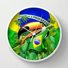 Toco Toucan with Brazil Flag Wall Clock
