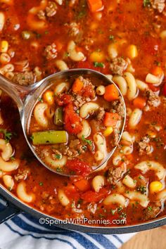 This hearty macaroni soup is ready in 35 minutes. Made with ground beef, mixed veggies, and a savory and flavorful tomato broth it is always a family favorite. Macaroni Soup Recipes, Beef Macaroni, Beef Soup Recipes, Ground Beef Recipes, Cooking Recipes, Healthy Recipes, Beef Meals, Chef Recipes, Healthy Soup