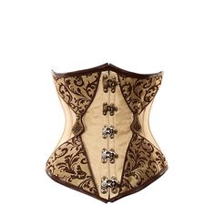 VG-110 Long Ivory Underbust with Brown Trim and Gold Detailing