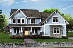 Plan Two-Story Craftsman House Plan with Optional Bonus Room This handsome Craftsman house plan boasts a huge open floor plan so you can easily see from room to House Plans One Story, New House Plans, House Floor Plans, Modern Farmhouse Plans, Foyer Decorating, Home Inspection, Bedroom House Plans, Future House, New Homes