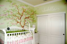 For some reason I love trees and floral murals, especially in a nursery room.  Tree Blossom Nursery Mural - Tree