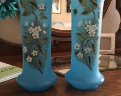 Beautiful Light Blue Satin Glass with hand painted white flowers Matching Vases.