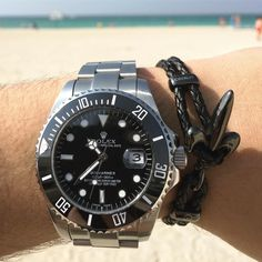Summer Vibes | Beautiful ROLEX Watch with the matching black on black Fleur De Lis bracelet! Get Yours Today for Him and Her | www.coerlys.com