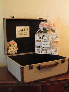 Wedding Card Box Holder / Wishes / Set of Vintage Style Rustic Suitcase / Burlap / Program Holder / champagne Birdcage. $120.00, via Etsy.