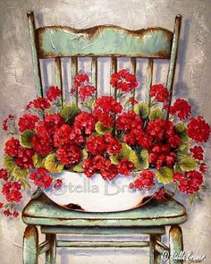Stella Bruwer white enamel basin with red geraniums on high back shabby green chair