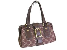 #Sale: was $294 now $243 #Celine Shoulder Bag Macadam pattern Canvas/Leather Brown(BF047609)