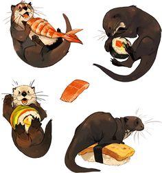 Cute Animal Drawings, Animal Sketches, Art Sketches, Art Drawings, Art Prompts, Furry Art, Otters, Cute Art, Art Inspo