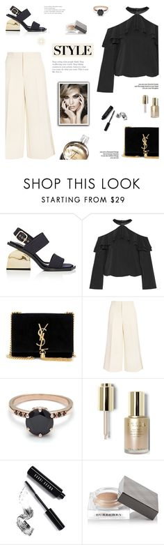 """Black x Gold"" by paradiselemonade ❤ liked on Polyvore featuring Marni, Alice + Olivia, Yves Saint Laurent, Joseph, Chanel, Stila, Bobbi Brown Cosmetics and Burberry"