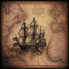 Výsledek obrázku pro old ship map Images Vintage, Vintage Maps, Antique Maps, Vintage Prints, Ancient Maps, Ship Map, Ship Drawing, Nautical Art, Old Maps