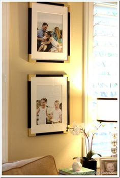 This is so smart!  Update solid coloured frames with some tape and gold paint and voila!  Gold cornered frames!  So easy!