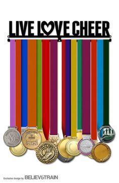 Cheerleading Medal Hanger Live Love Cheer. Medal display. Gift for cheerleader. #ad