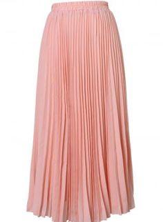 Pink Pleated High Waist Maxi Skirt,  Skirt, pleated skirt  high waist, Casual
