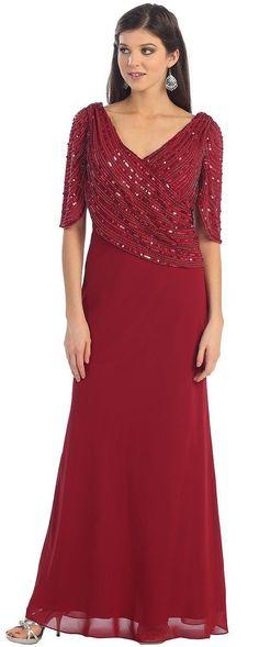 Short Sleeve Mother Of Bride V Neck Plus Size Evening Formal Dress