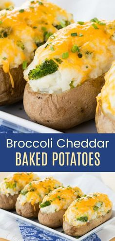 Broccoli Cheddar Baked Potatoes are sure to become your family's new favorite side dish. An easy twice baked potato recipe is stuffed with broccoli and cheese, then topped with more melted cheddar cheese. #sidedish #bakedpotatoes #glutenfree via @cupcakekalechip