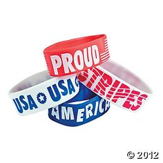 "Show that you're proud to be an American! Patriotic Big Band Bracelets come in four different styles: Red with ""Proud"" and the American flag in wh. 4th Of July Celebration, 4th Of July Party, Fourth Of July, American Pride, American Flag, Military Holidays, Usa Gear, Candy Bracelet, Rubber Bracelets"